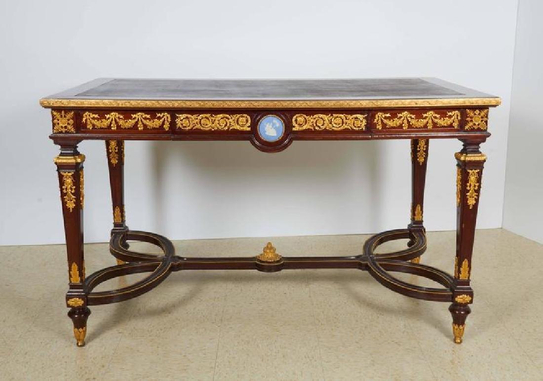 Fine Ormolu Jasperware Wedgewood-Mounted Mahogany Table - 7