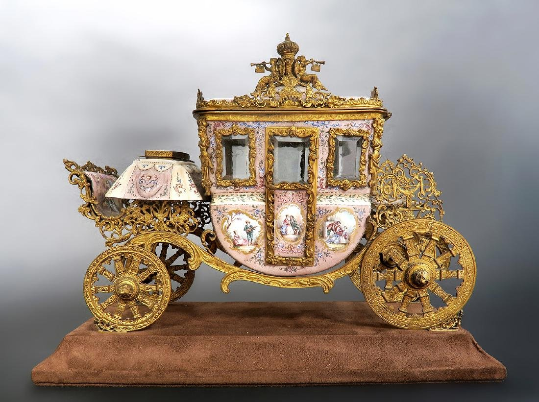 Large Museum Quality Viennese/Austrian Enamel Carriage - 2
