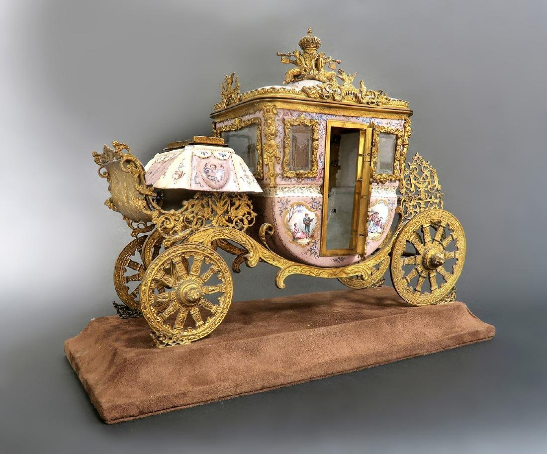 Large Museum Quality Viennese/Austrian Enamel Carriage - 3