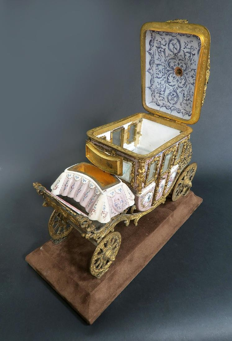 Large Museum Quality Viennese/Austrian Enamel Carriage - 4