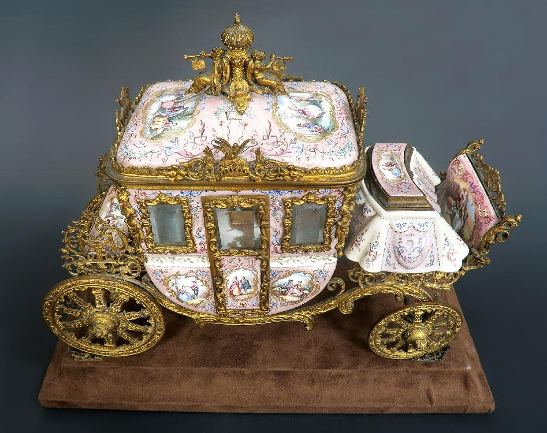 Large Museum Quality Viennese/Austrian Enamel Carriage - 5
