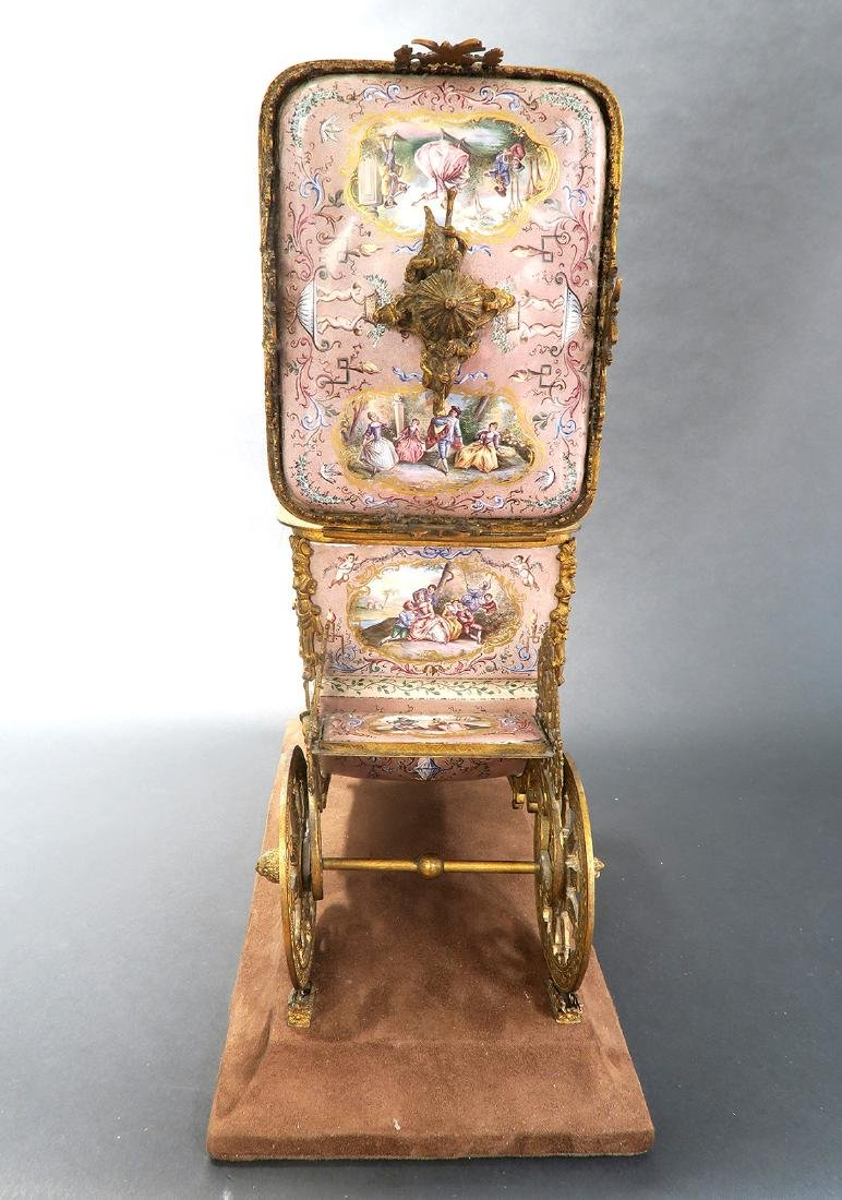 Large Museum Quality Viennese/Austrian Enamel Carriage - 6