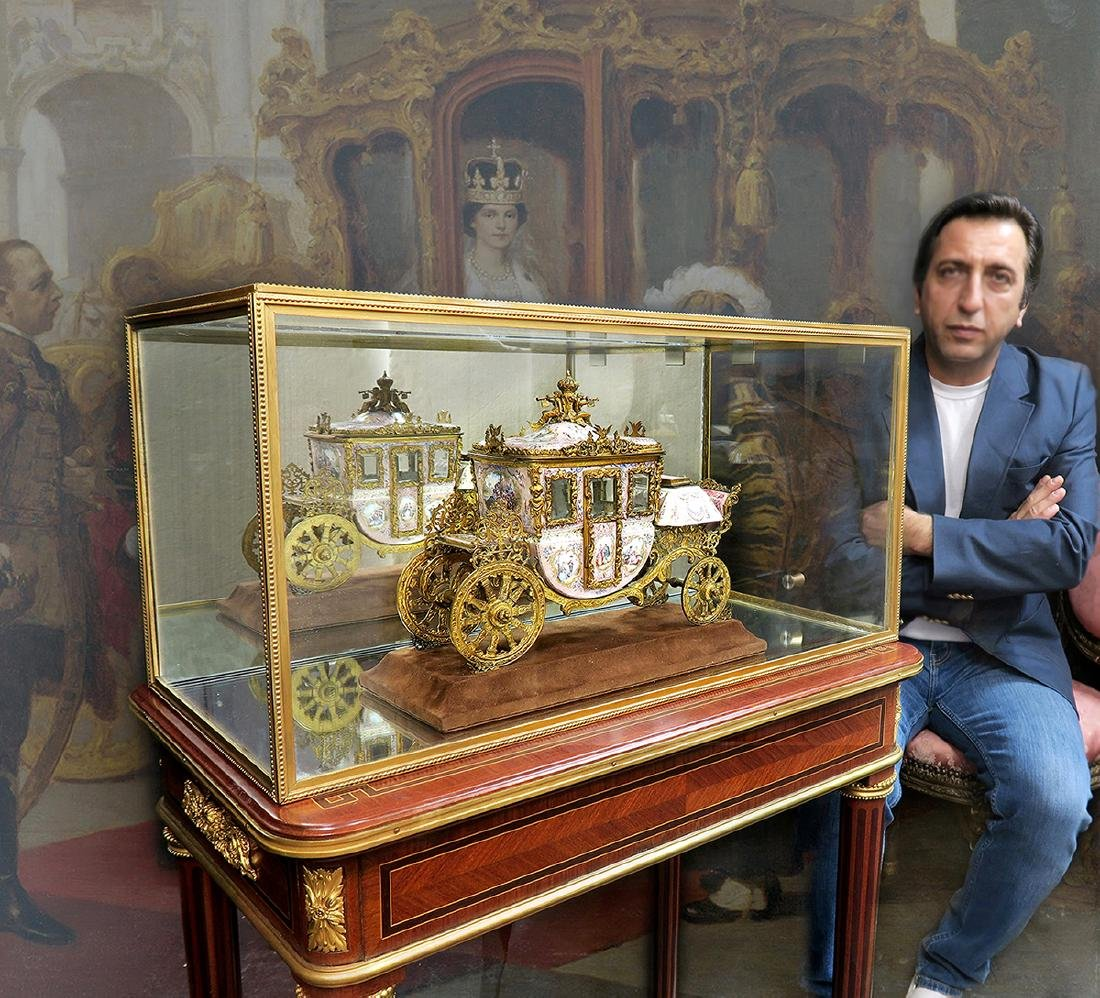 Large Museum Quality Viennese/Austrian Enamel Carriage - 8