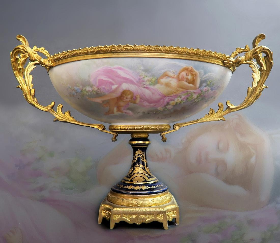 19th C. French Bronze Mounted Sevres Centerpiece