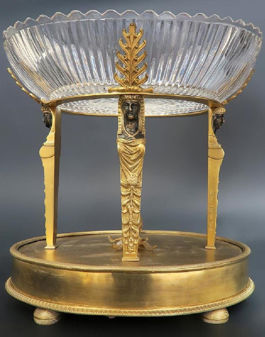 "Fine ""Alph Giroux"" French Bronze & Crystal Centerpiece"