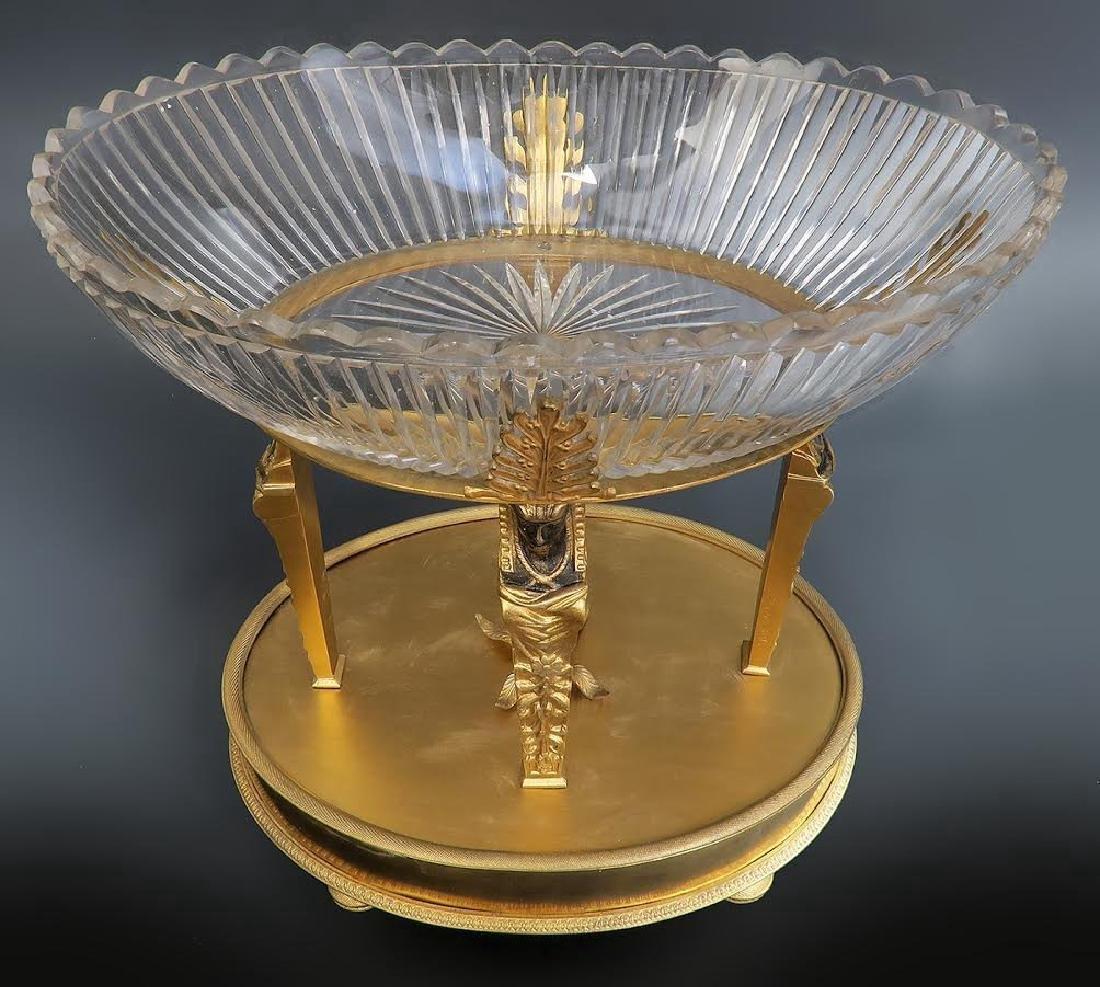 "Fine ""Alph Giroux"" French Bronze & Crystal Centerpiece - 4"