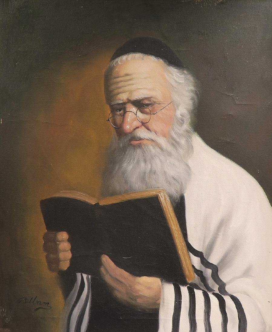 Fine Oil Painting of a Rabbi. Signed! - 3