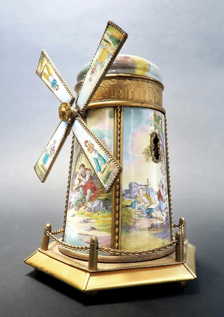 Large Austrian/Viennese Enamel Windmill Music Box - 2