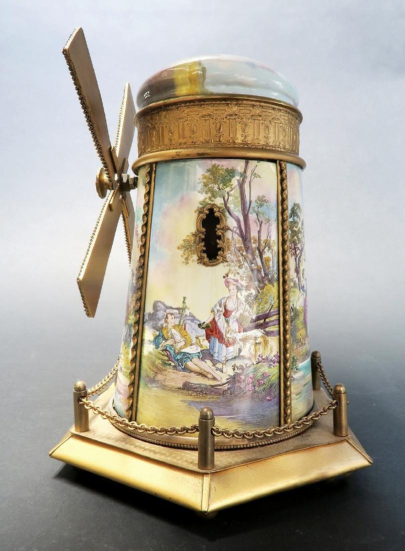 Large Austrian/Viennese Enamel Windmill Music Box - 3