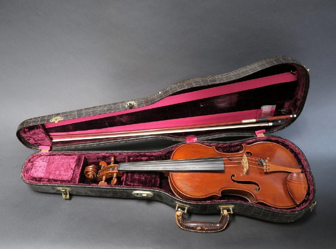 """19th C. French Mirecourt Aubert"""" Violin"""