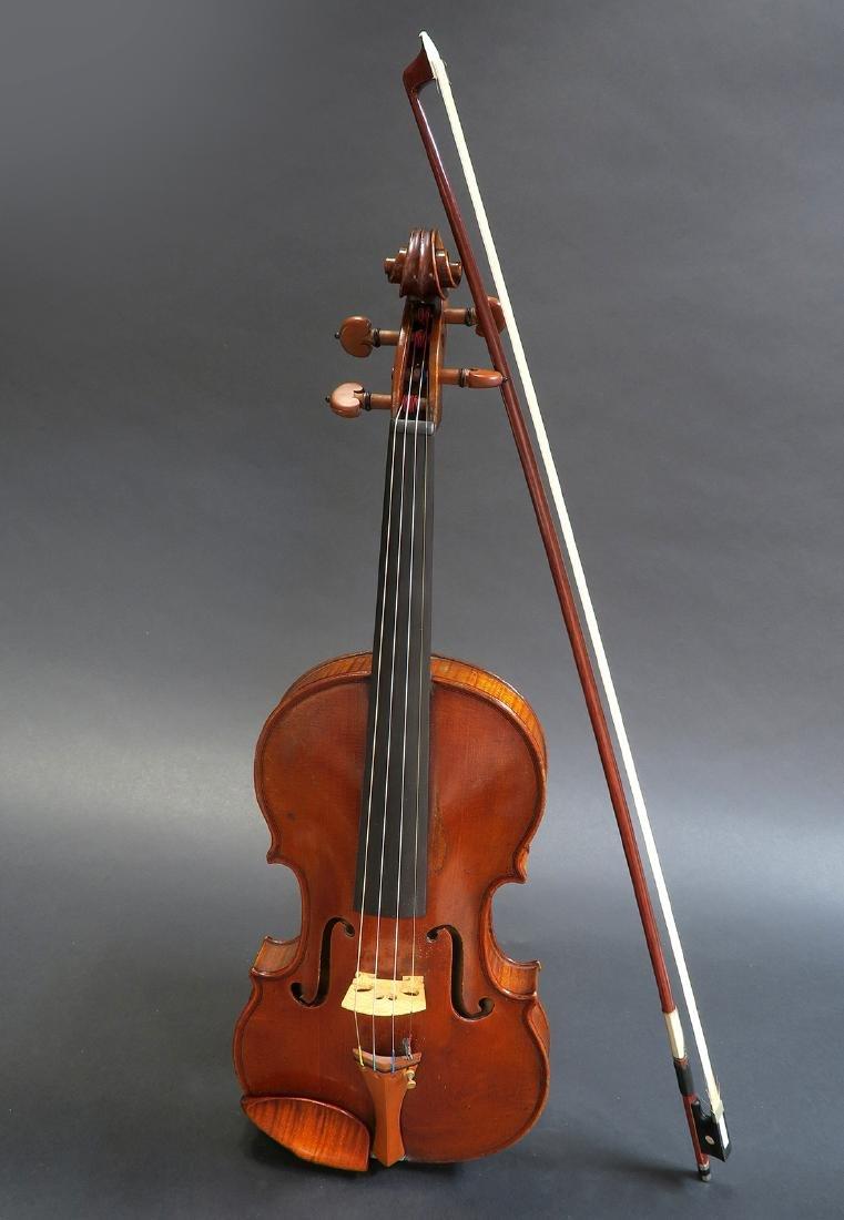 """19th C. French Mirecourt Aubert"""" Violin - 2"""