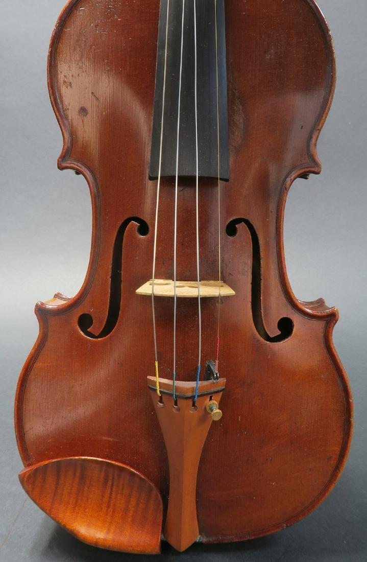 """19th C. French Mirecourt Aubert"""" Violin - 6"""