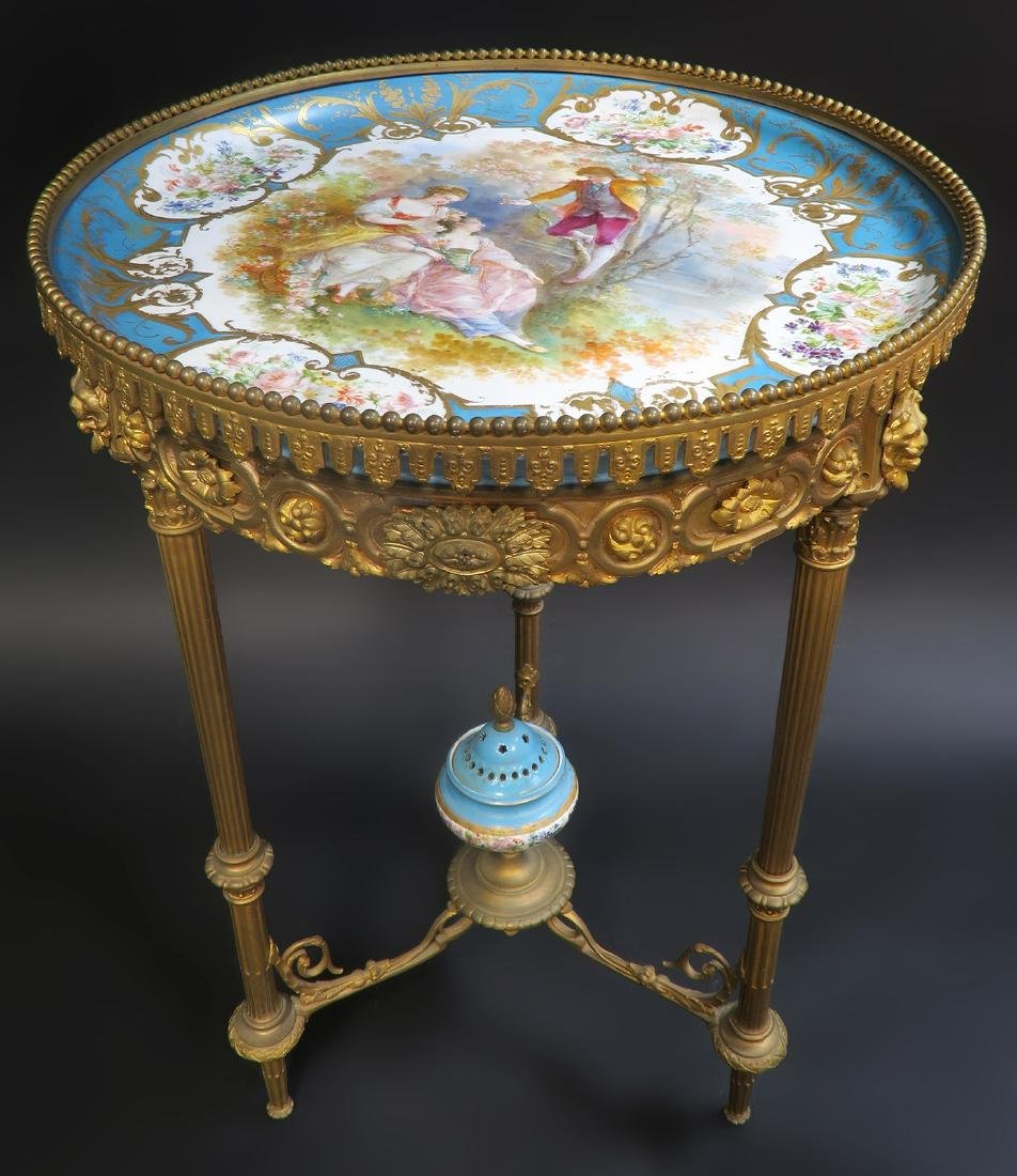 19th C. French Sevres Bronze Table