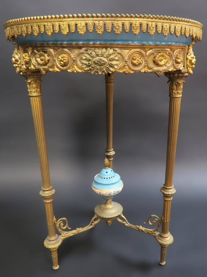 19th C. French Sevres Bronze Table - 3