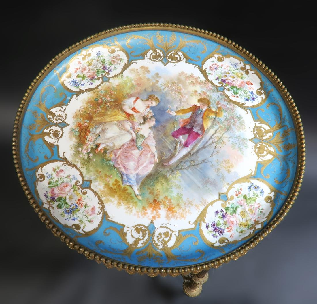 19th C. French Sevres Bronze Table - 5