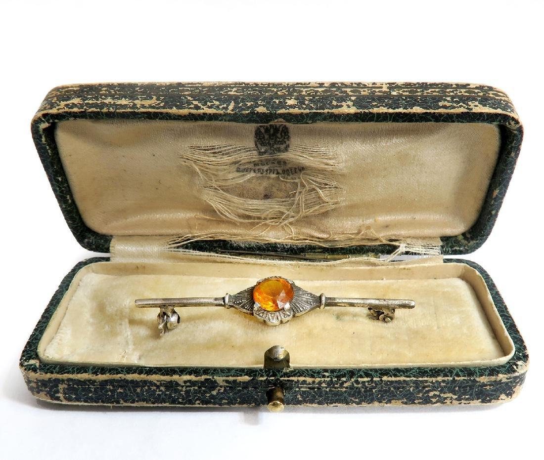 19th C. Faberge Silver 84 / Garnet Russian Brooch