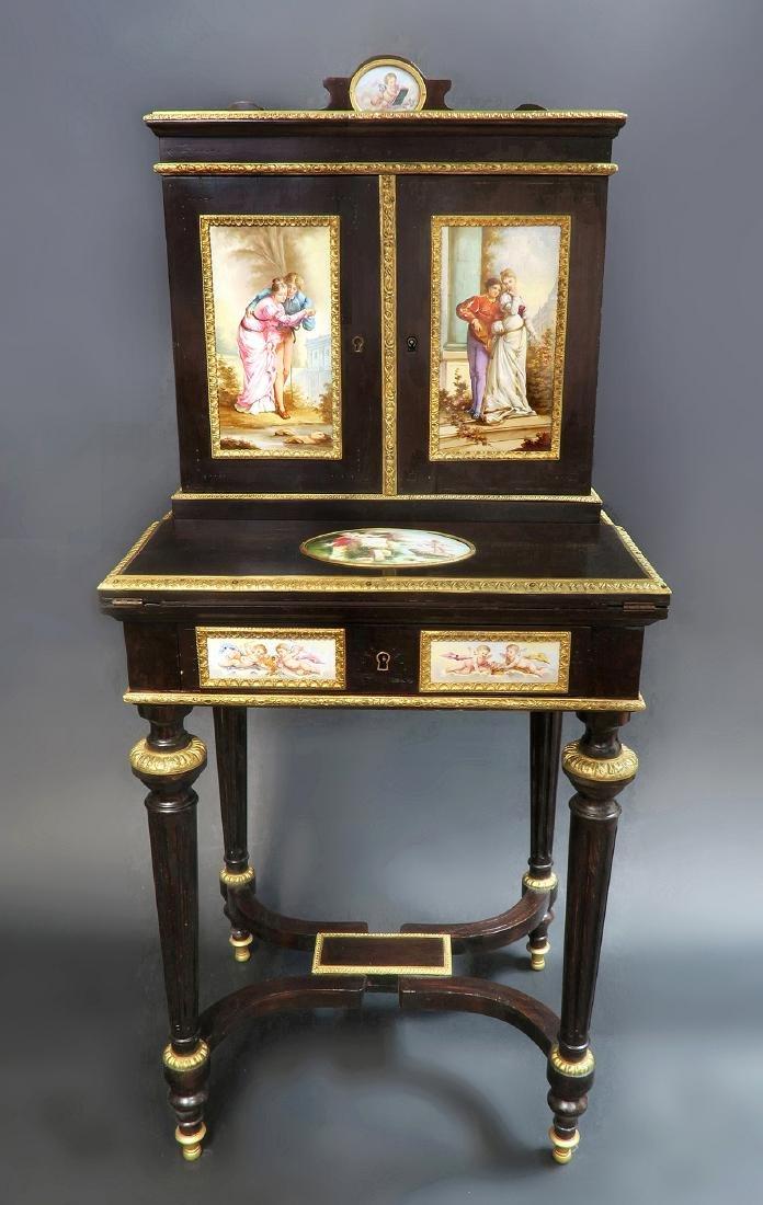 19th C. Meissen Style Plaque mounted Ladies Desk