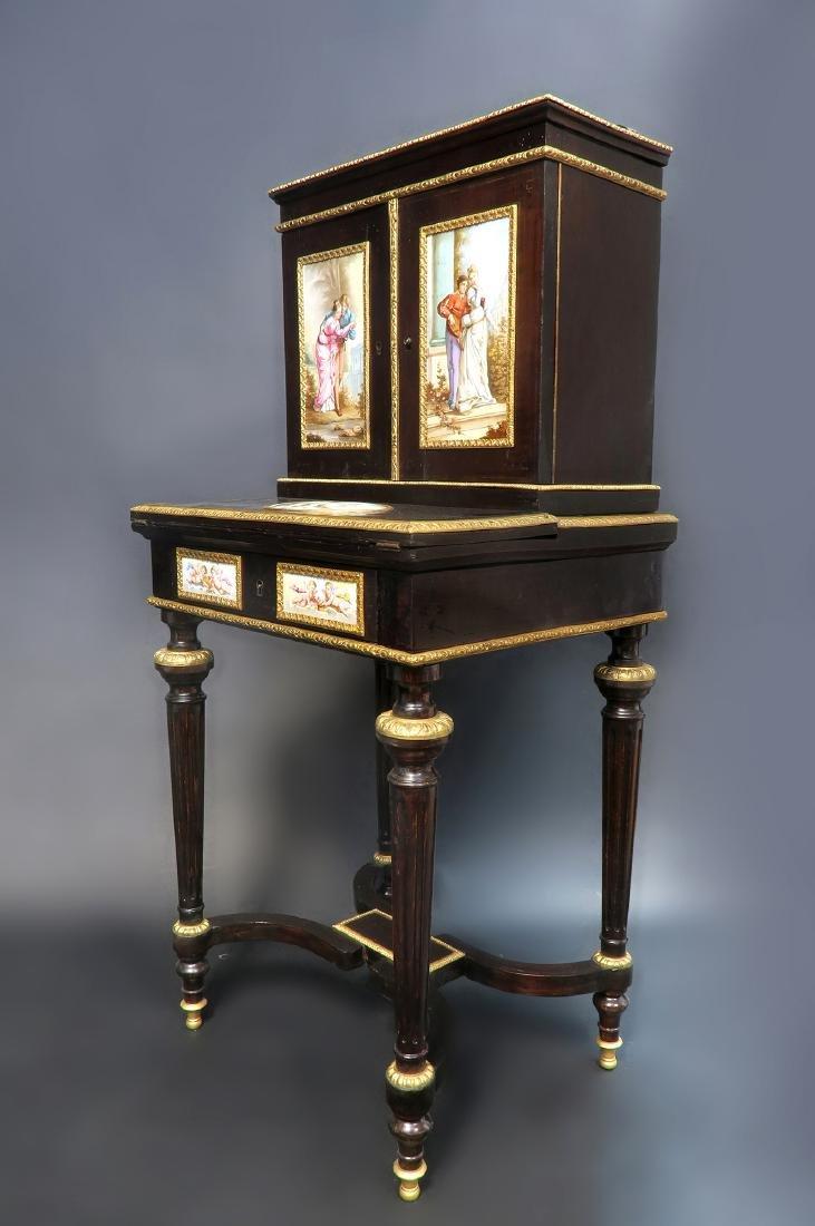 19th C. Meissen Style Plaque mounted Ladies Desk - 2
