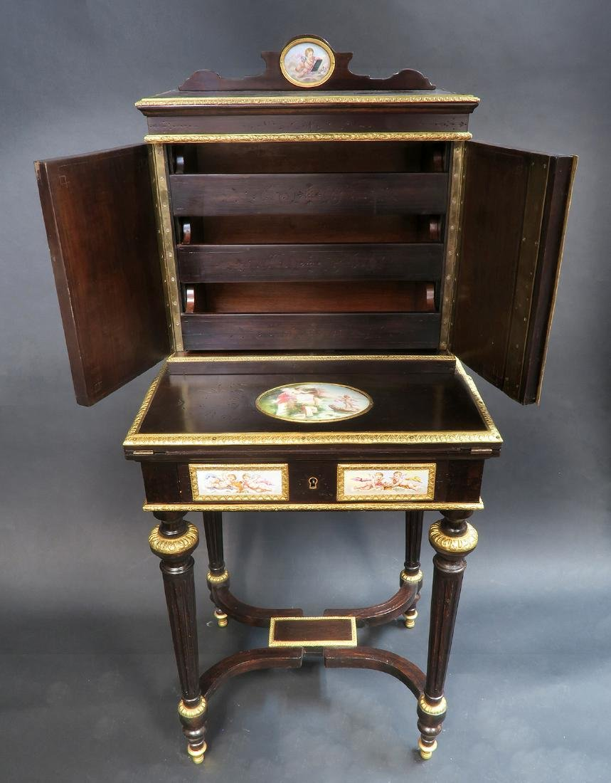 19th C. Meissen Style Plaque mounted Ladies Desk - 3