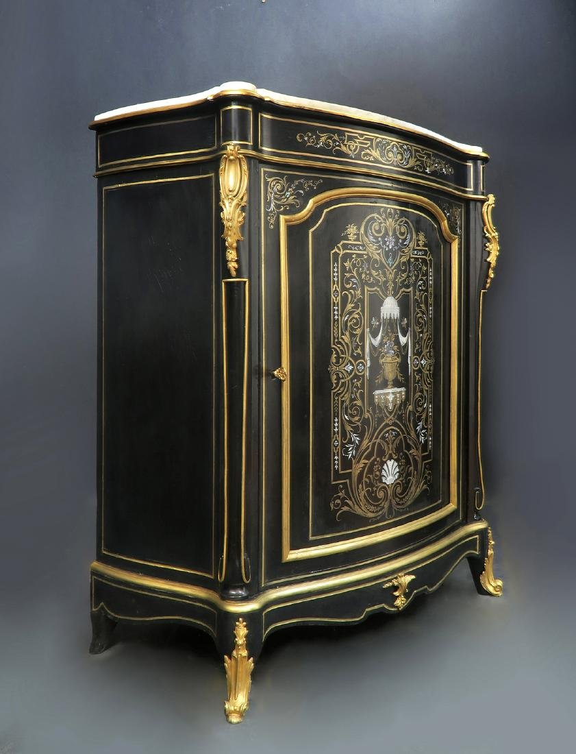 French Hand Painted Bronze Mounted Ebonized Cabinet