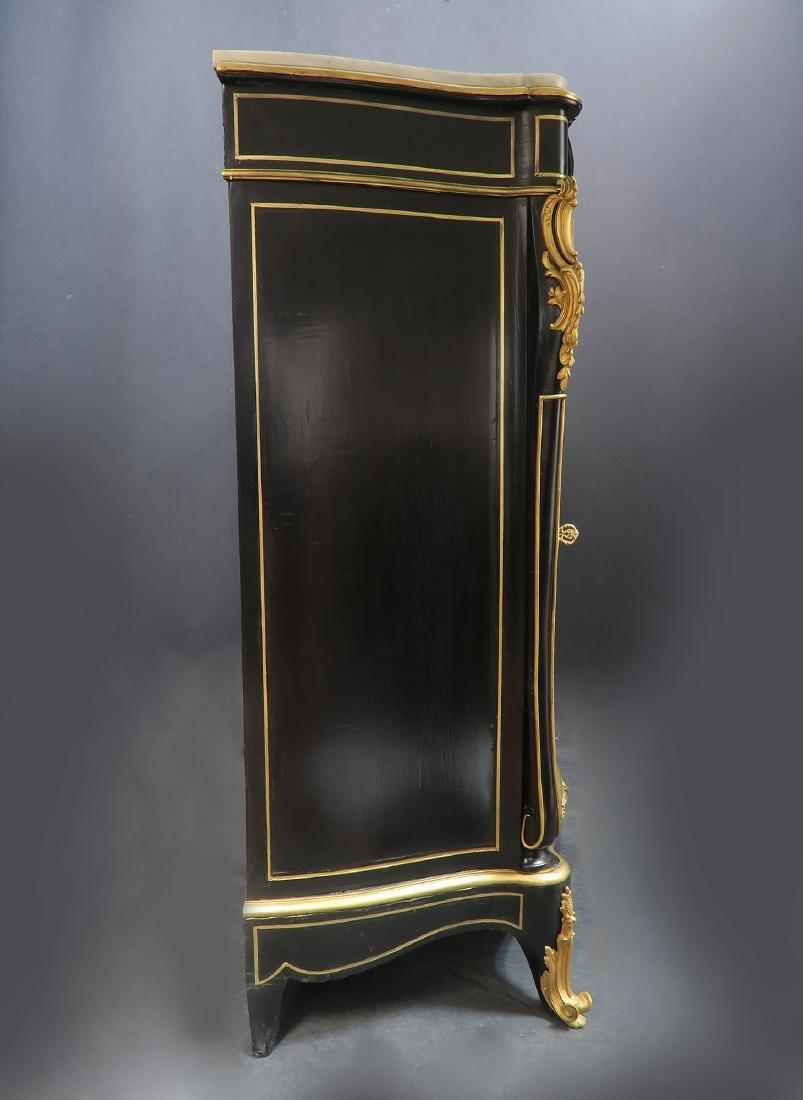 French Hand Painted Bronze Mounted Ebonized Cabinet - 4
