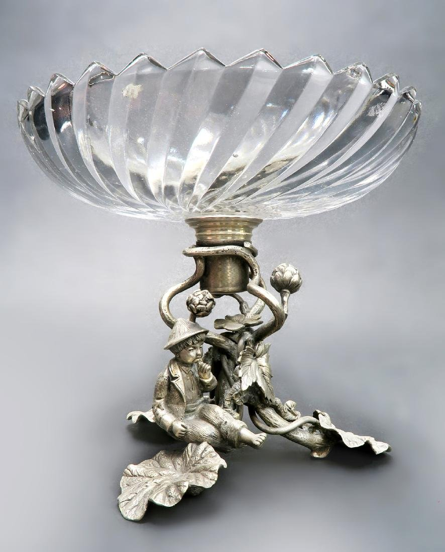 Silver-Plated & Baccarat Crystal Figural Centerpiece