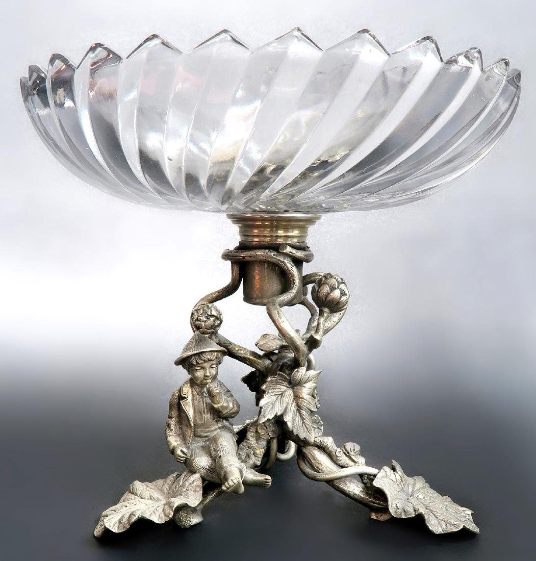 Silver-Plated & Baccarat Crystal Figural Centerpiece - 2
