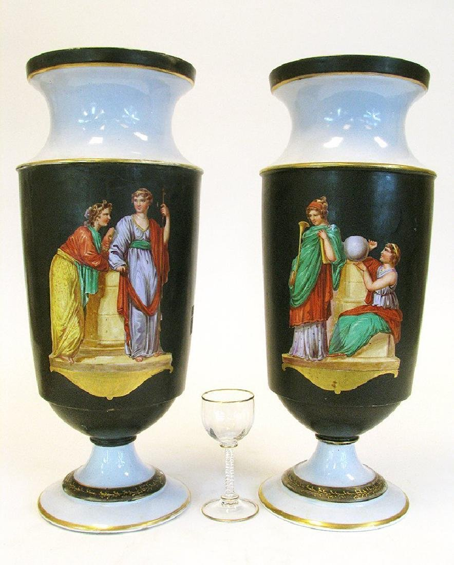 Pair of 19th C. Hand Painted Porcelain Vases