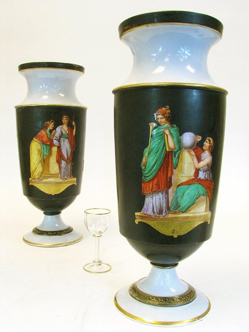 Pair of 19th C. Hand Painted Porcelain Vases - 2