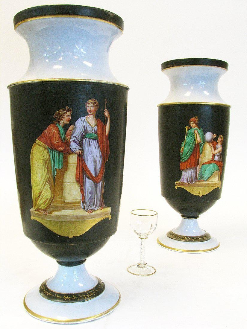 Pair of 19th C. Hand Painted Porcelain Vases - 3