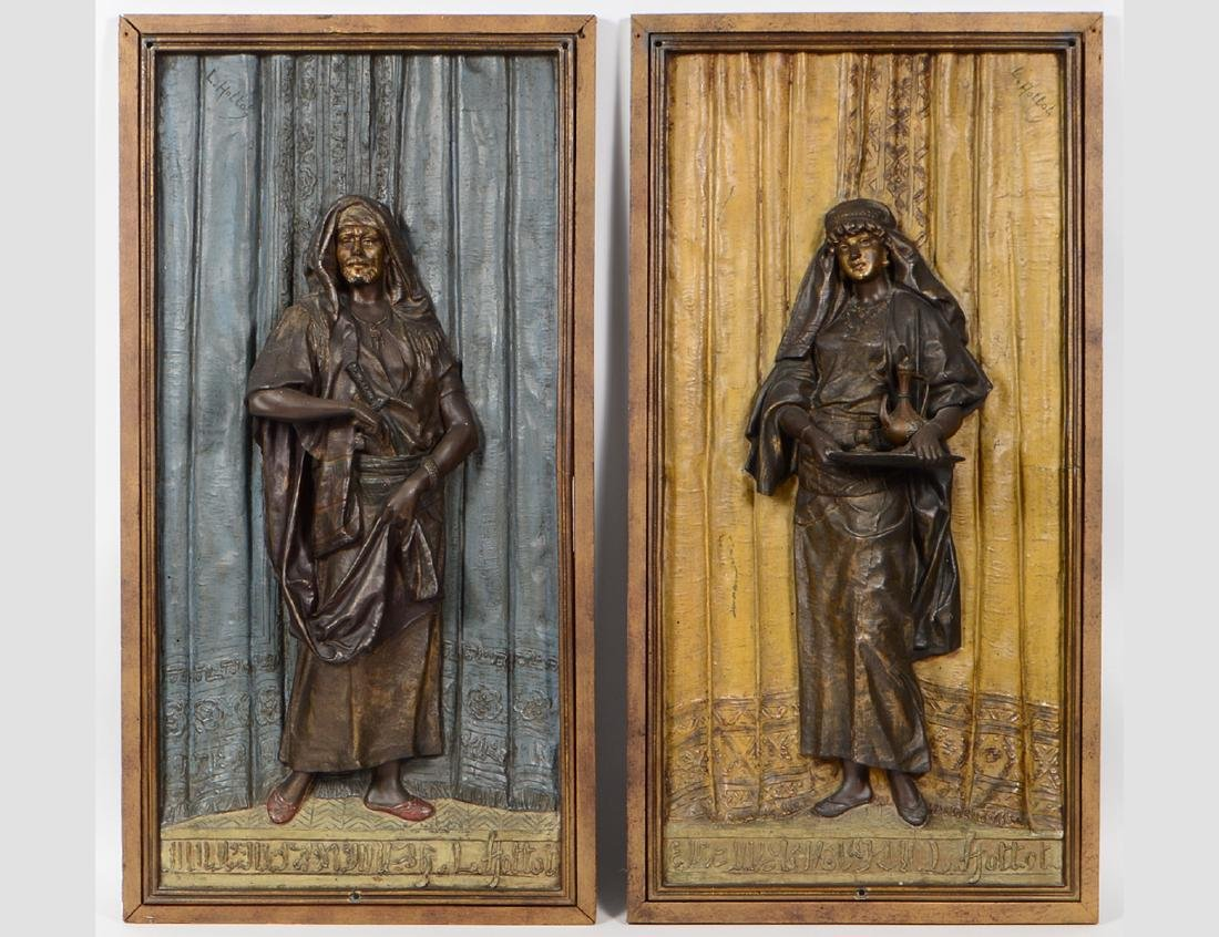 "A PAIR OF FRENCH BRONZE PLAQUES SIGNED ""LOUIS HOTTOT"""