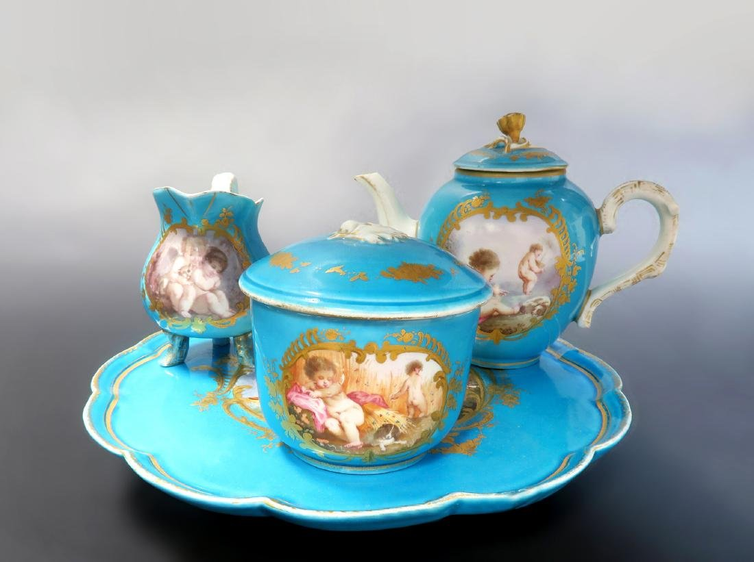 19th C. French Sevres Hand Painted Tea Sets - 2