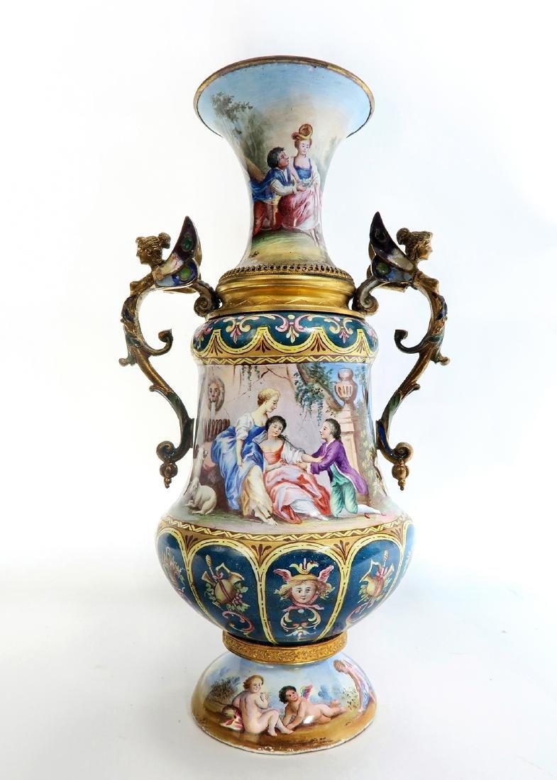 Large Austrian/Viennese Enamel on Silver Vase
