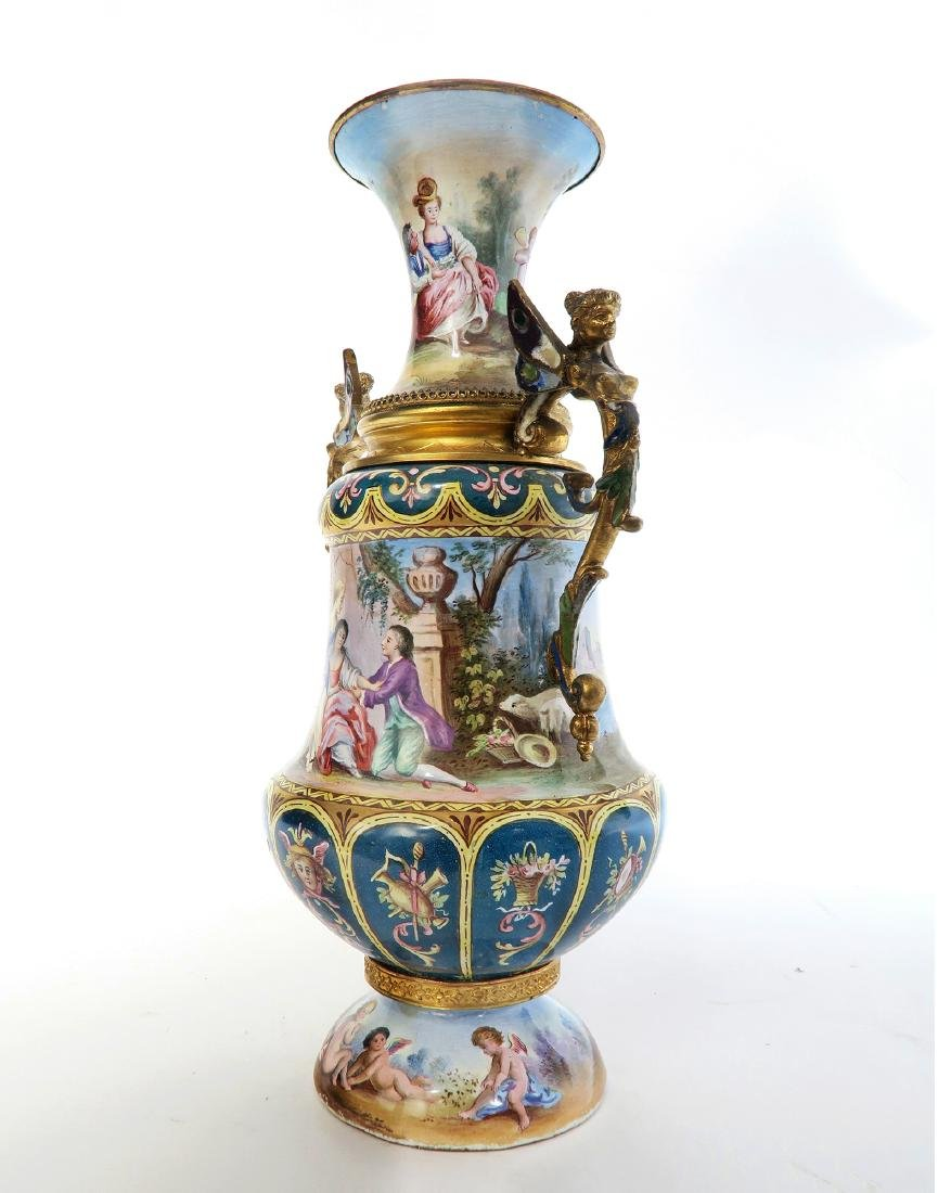 Large Austrian/Viennese Enamel on Silver Vase - 2