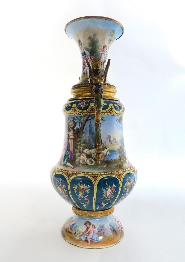 Large Austrian/Viennese Enamel on Silver Vase - 3