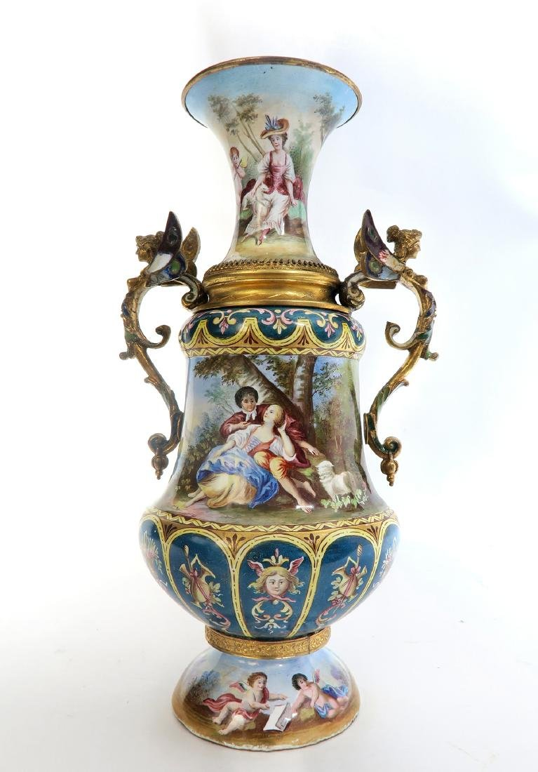 Large Austrian/Viennese Enamel on Silver Vase - 4