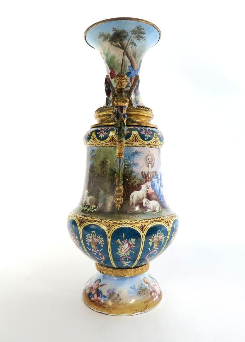 Large Austrian/Viennese Enamel on Silver Vase - 5