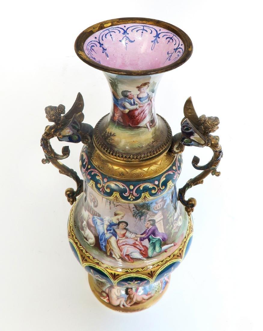 Large Austrian/Viennese Enamel on Silver Vase - 6