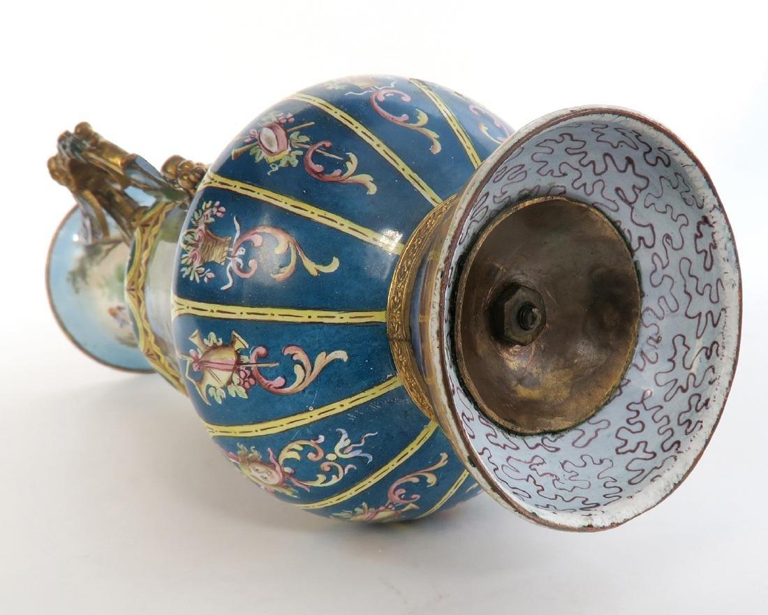Large Austrian/Viennese Enamel on Silver Vase - 7