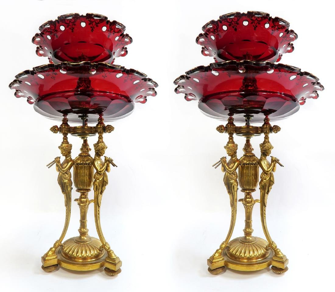 Pair of French Figural Bronze & Ruby Baccarat Compotes - 2