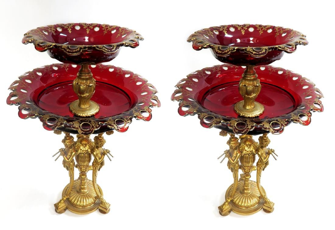 Pair of French Figural Bronze & Ruby Baccarat Compotes - 3