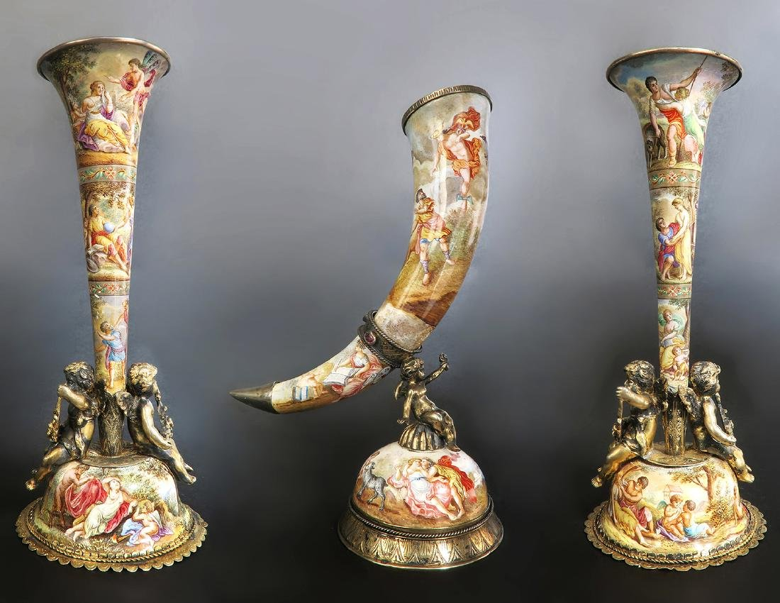 19th C. Austrian/Viennese Enamel cornucopias Set
