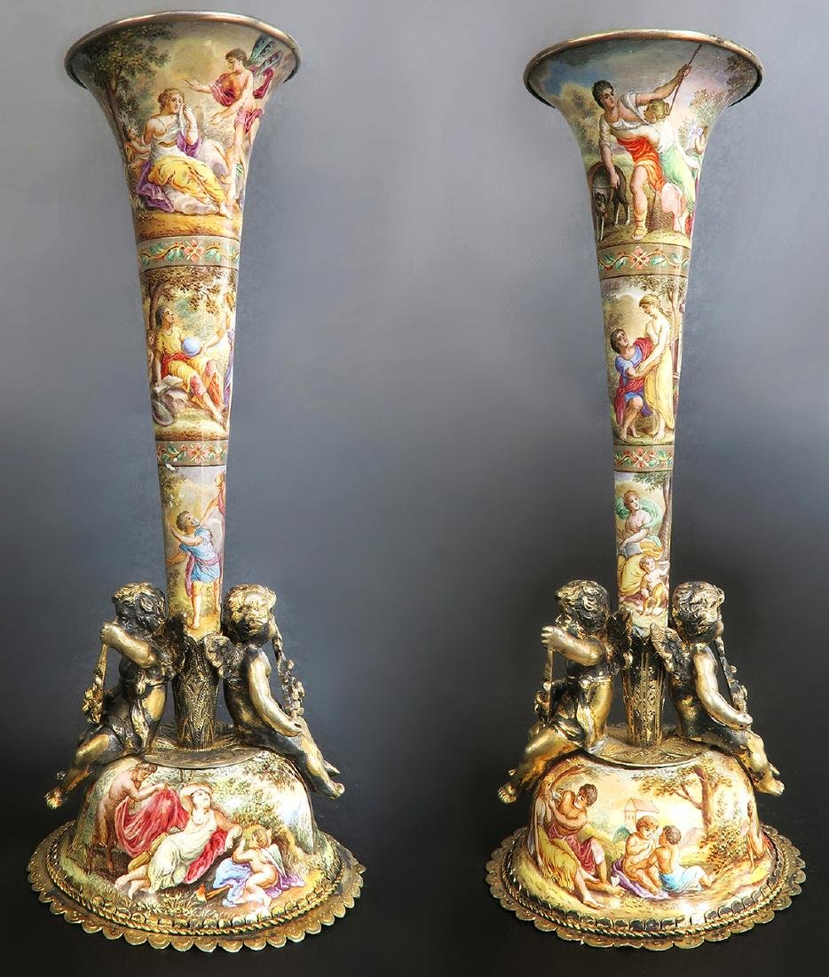 19th C. Austrian/Viennese Enamel cornucopias Set - 2