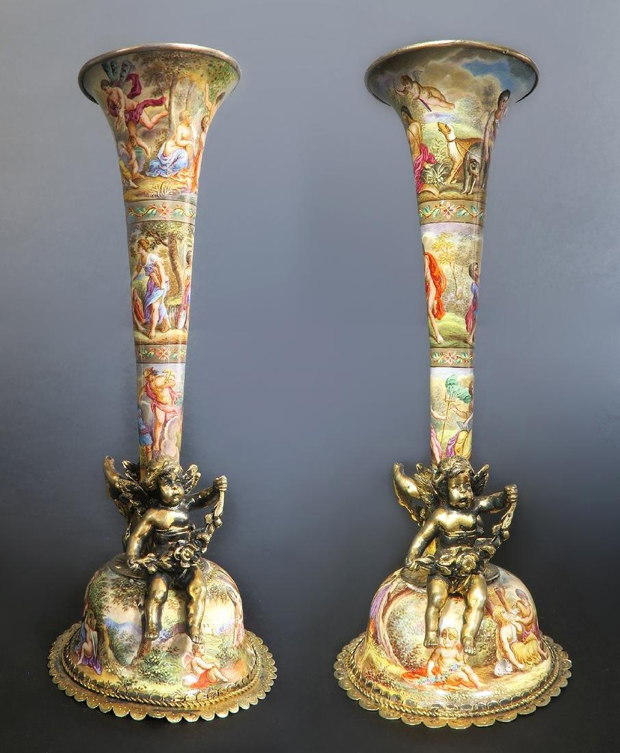 19th C. Austrian/Viennese Enamel cornucopias Set - 4