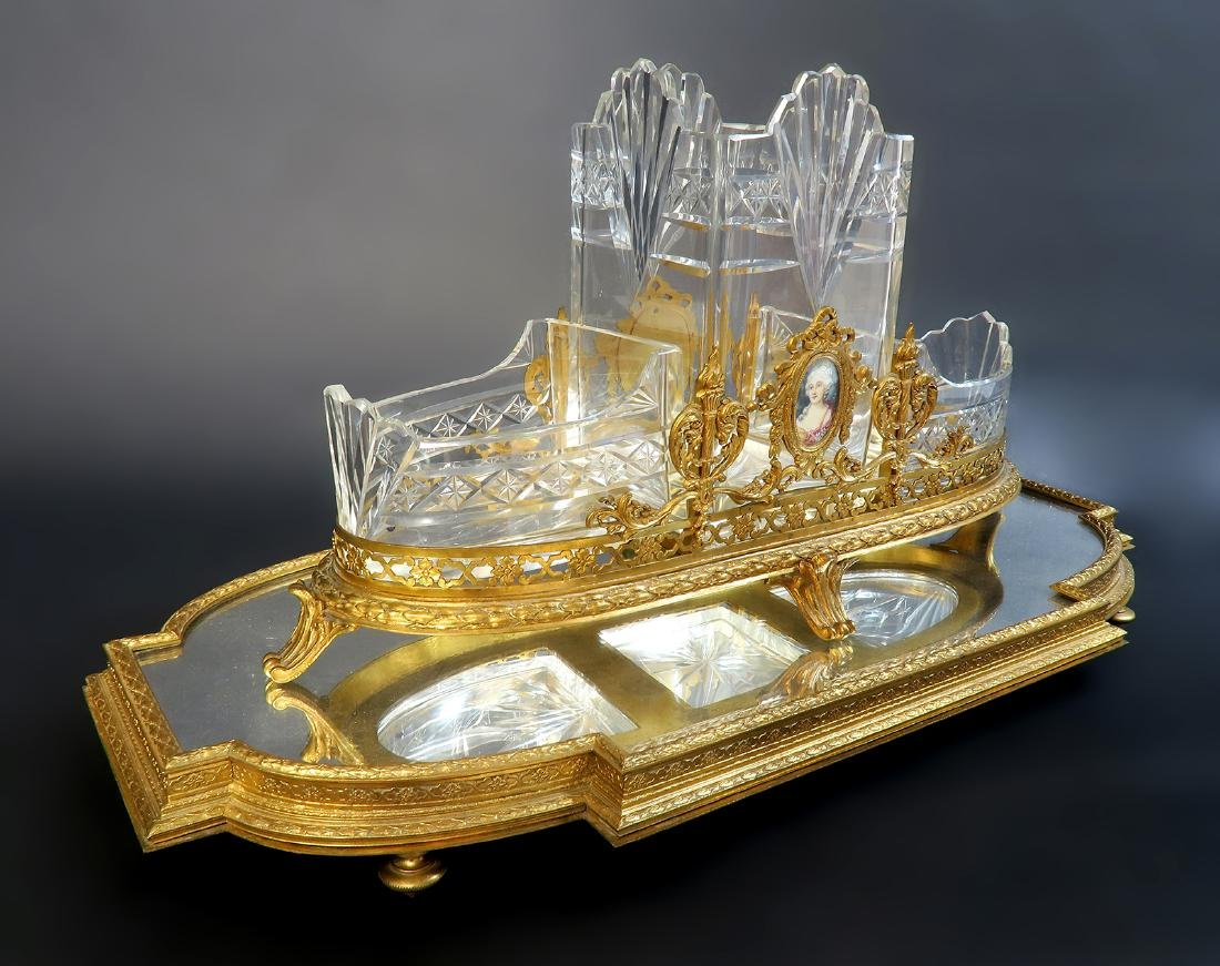 French Bronze & Baccarat Crystal Centerpiece & Plateau - 2