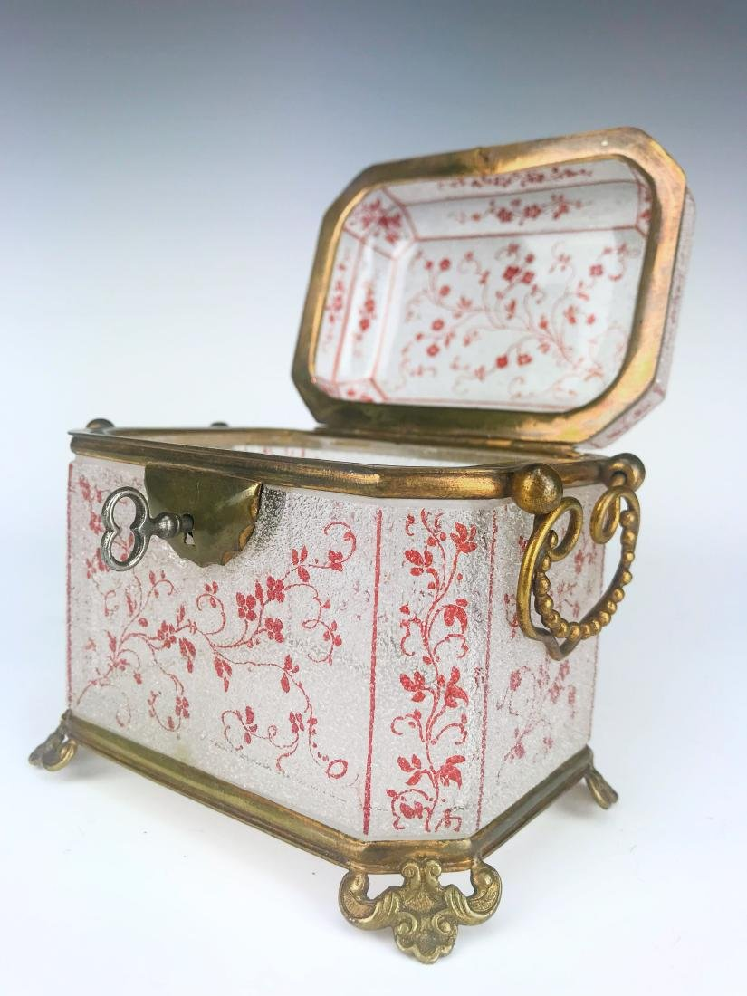 French Bronze & Baccarat Crystal Jewelry Box