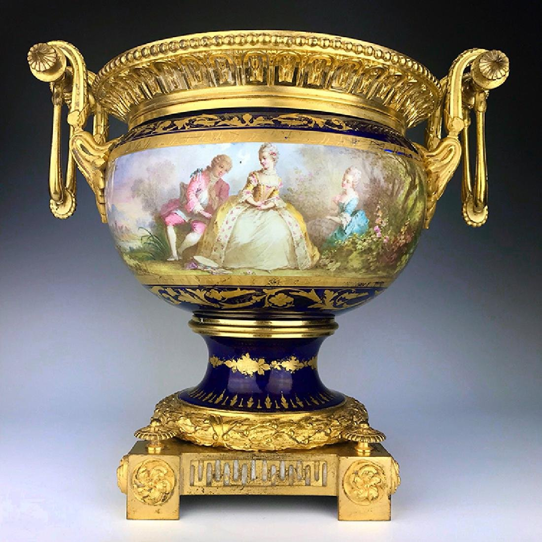 19th C. French Bronze & Porcelain Centerpiece