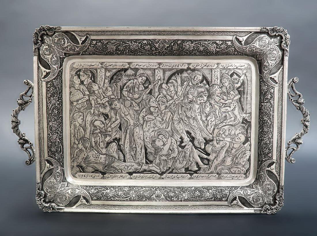 Hand Hammered Hand Engraved Persian Silver Tray
