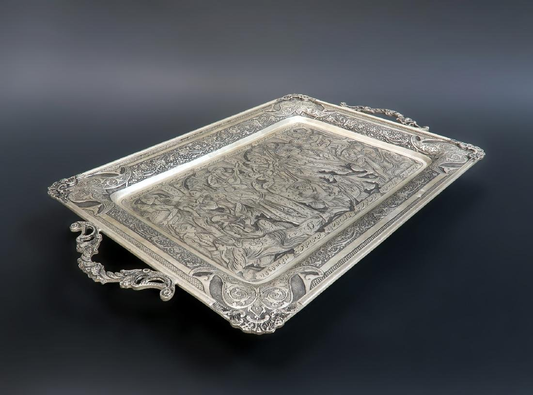 Hand Hammered Hand Engraved Persian Silver Tray - 3