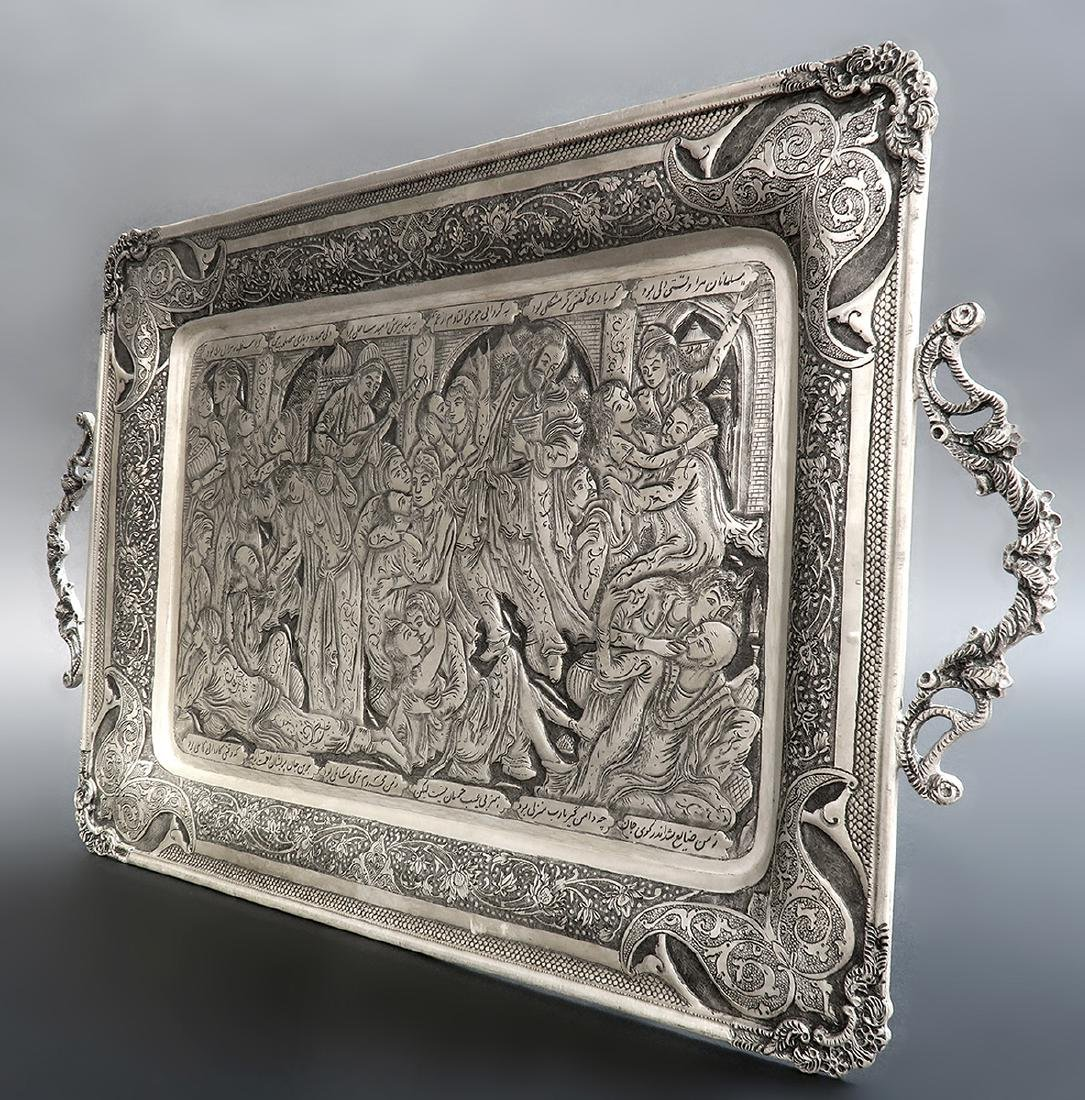 Hand Hammered Hand Engraved Persian Silver Tray - 4